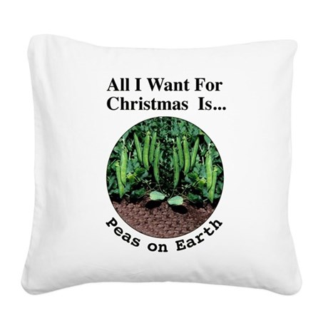 Xmas Peas on Earth Square Canvas Pillow