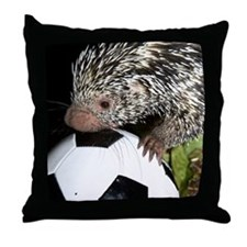 Porcupine With Soccer Ball Throw Pillow