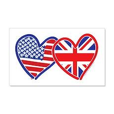 American Flag/Union Jack Flag Hearts Wall Decal