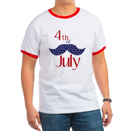 moustache 4th of july t-shirt