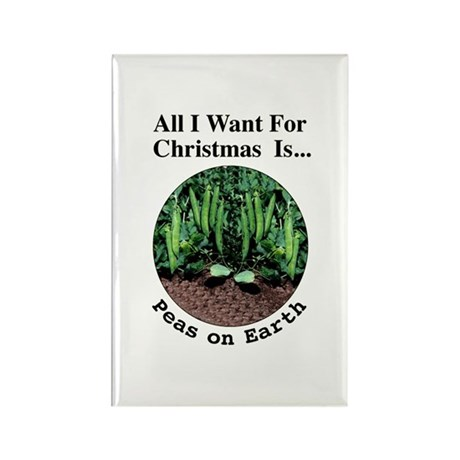 Xmas Peas on Earth Rectangle Magnet