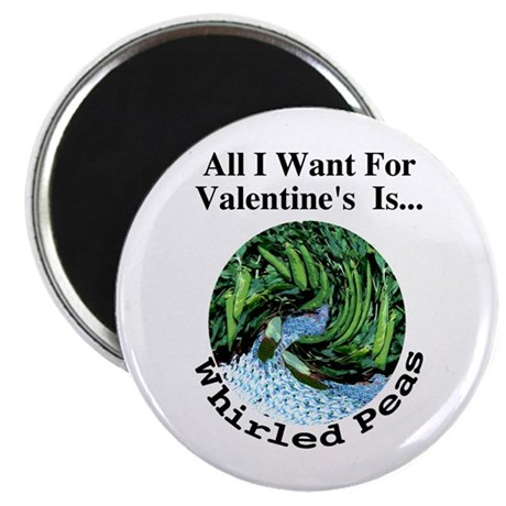"""Valentine's Whirled Peas 2.25"""" Magnet (10 pack)"""