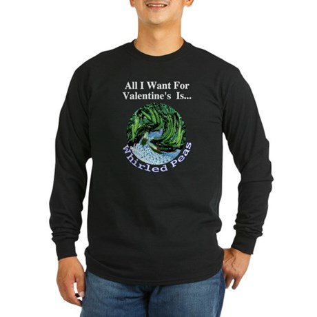 Valentine's Whirled Peas Long Sleeve Dark T-Shirt