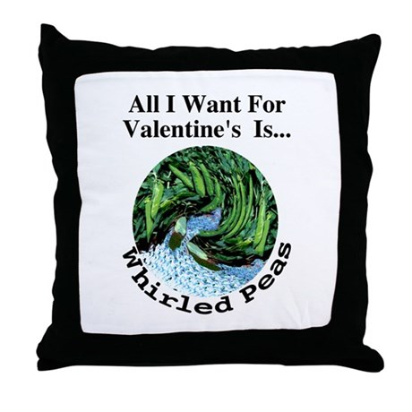 Valentine's Whirled Peas Throw Pillow