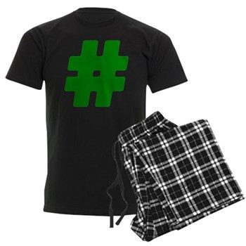 Green #Hashtag Men's Dark Pajamas