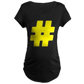 Yellow #Hashtag Dark Maternity T-Shirt