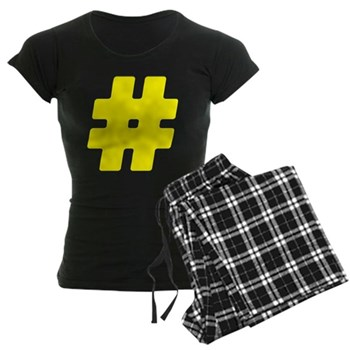 Yellow #Hashtag Women's Dark Pajamas