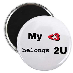 """My Heart belongs 2U 2.25"""" Magnet (10 pack)"""